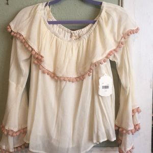 Altar'd State blouse with pink Pom poms